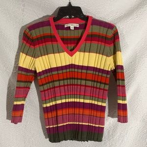 Tommy Hilfiger Ribbed VNeck Stripe Stretch Shirt